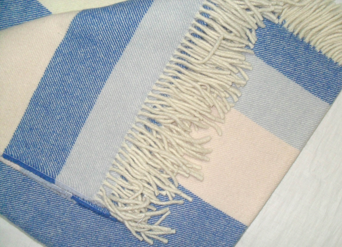 Single blanket in two shades of blues and white stripes.